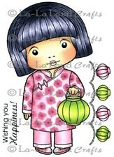 MARCI WITH LANTERN-La-La Land Crafts Cling Mount Rubber Stamp-Stamping-Chinese