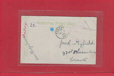 Un-paid Branch Dead Letter Office Post card 1908 to Toronto Canada