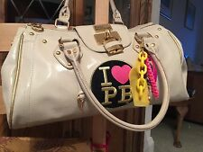 PAUL'S BOUTIQUE Large Cream Patent Bag with Padlock Key Charms Leopard Lining ❤️
