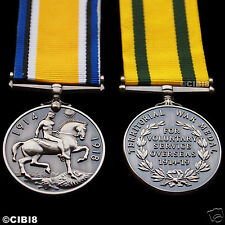 BRITISH WAR MEDAL + TERRITORIAL FORCE WAR MEDAL - WORLD WAR 1 CAMPAIGN SERVICE