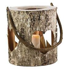WOODEN TREE BARK RUSTIC CUT OUT HEART LANTERN HURRICANE TEA LIGHT CANDLE HOLDER