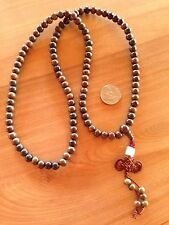 Beautiful Buddhist Mala 108 Beads Prayer Necklace with knot and jade piece