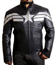Soldado del Invierno Capitán América Elegante Negro Imitación Cuero Chaqueta.