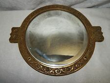 CAST BRASS? BEVELED GLASS MIRROR VICTORIAN ANTIQUE SHIP? ROUND WALL SCROLL CAST