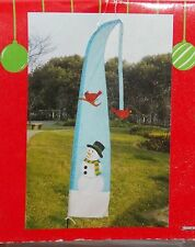 "NEW FROSTY THE SNOWMAN CHRISTMAS COLLAPSIBLE YARD FLAG & STAKE 82"" TALL"