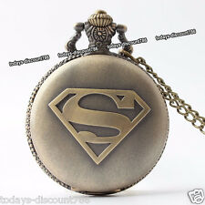 SUPERMAN Pocket Watch Necklace Xmas Birthday Mens Husband Wife Dad Gift For Him