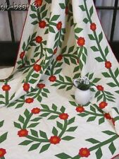 "Christmas Wreaths! 1860s Applique Quilt Antique RED GREEN Signed 90"" x 80"""