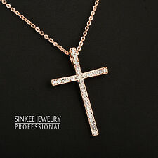 Fashion Zircon Cross Pendant Necklace Chain For Women 18K Rose Gold Plated XL402