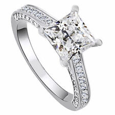 FL Princess Cut Diamond Silver 925 Solid White Gold Engagement Wedding Ring