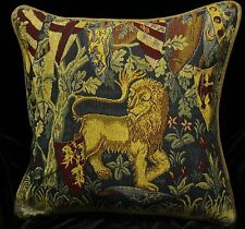 DECORATIVE PILLOW COVER Medieval Tapestry Throw Cushion LION Sofa Scatter Red