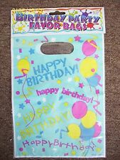 NEW set of 8 kids Happy Birthday plastic party favor bags 9.5 long X 6.5 wide