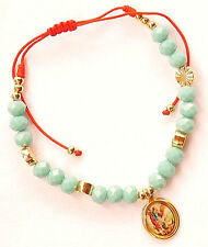 Saint Michael Red Cord Bracelet with Blue/Gold Tone  Beads and Medal