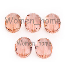 5Pcs Facted Glass Crystal Flat Oval Loose Spacer Beads Craft Findings 20x16mm