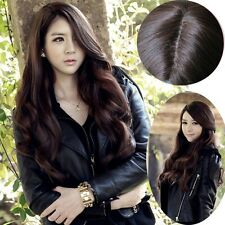 Women Long Curly Wavy Hair Wig Cosplay Party Hand Weave Brown Part Bang Full Wig