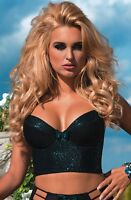 Black Green sparkly Half Corset Bustier Sexy Longline Bra B-D cup Mermaid Plunge