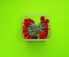 "100 Dritz Red Flower Head Pins - 1 3/4"" Long Shaft - 2 1/8"" Overall Length"