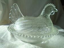 Vintage Clear Glass HEN on a Nest Covered Candy Dish Chicken~textured~Free Ship