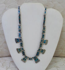 """TAXCO MEXICAN 925 STERLING SILVER WITH TURQUOISE INLAY NECKLACE 79 g - 17"""" LONG"""