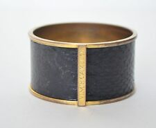 VTG Vince Camuto Cuff Bangle Wide Classic Chunky Black Alligator Leather Brass