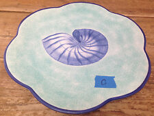 Este Ce Italy for Exposures 1997 Sea Shell Dinner Plate #C Green Cornucopia Blue