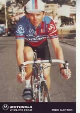 CYCLISME carte  cycliste MIKE CARTER équipe MOTOROLA 1991