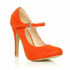 NEW WOMENS MARY JANE STRAP COURT SHOE HIGH HEEL PUMPS SUEDE PATENT LADIES
