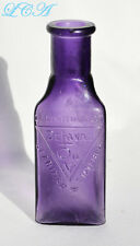 Antique DELAVAL OIL deep PURPLE tiny TRIANGLE shaped BOTTLE for CREAM SEPARATOR
