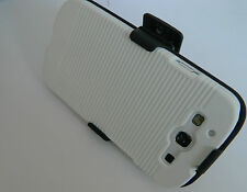 Samsung Galaxy III S3 I9300 Rubberized WHITE CASE BLK Holster +Belt Clip STAND