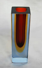 MURANO FLVIO POLI. BLOCKVASE IN RED AND YELLOW WITH LIGHTBLUE OVERLAY
