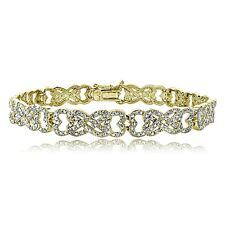 1ct TDW Diamond Intertwining Heart Infinity Tennis Bracelet Gold Tone