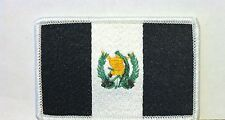 GUATEMALA FLAG Iron-On PATCH Tactical B & W ARMY  Version White  Border