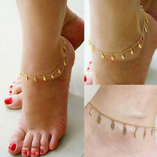 Cute Gold Plated Chain Leaf Anklet Bracelet Ankle Foot Jewelry Barefoot Beach