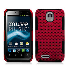 For ZTE Engage LT MESH Hybrid Silicone Rubber Skin Case Phone Cover Red