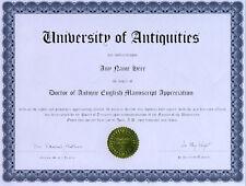 Doctor Antique English Manuscript Appreciation Diploma