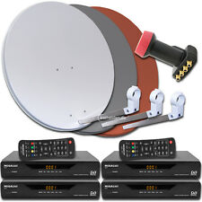 4 Teilnehmer Digitale Sat Satelliten Anlage Receiver 3600 Quad LNB 0,1db
