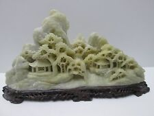 Asian Artisan Hand Carved Jade Landscape Village Mountain Scene Stone Stand