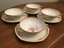 "MZ Altrohlau CMR ""DIANA"" Czechoslovakia ~ Set of 4 ~ Cream Soup Bowls w/Saucers"