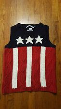 Tommy Hilfiger FLAG USA Cable Hand-knit Sweater VEST XL red white blue RARE 2001