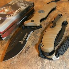 MARINES Spring Assisted Open TAN MILITARY TACTICAL Folding Pocket Knife USMC