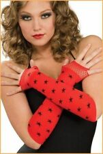 Sexy Rave Red Fingerless Arm Warmers Black Star Print Gloves