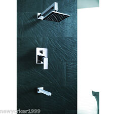 Wall Mounted Contemporary Chrome Rain Shower Faucet Single Handle Tub And Shower
