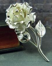 Vintage Signed TB-51 Mexican 980 Silver Rose Flower Pin/ Brooch