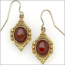 Egyptian Carnelian Drop Earrings Red Dangle Earrings 24k Gold-plate Earrings