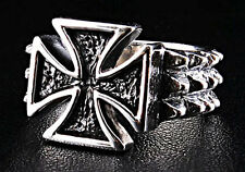 THORN MALTESE IRON CROSS SOLID 925 STERLING SILVER MENS RING Sz 6.25 BAND NEW NR