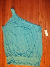 NEW YORK & CO Womens XL Turquoise One-Shoulder Sexy Rayon Top NWT