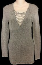 IRO Alida Long sleeve Knit Top Lace Up Front Beige Black Spec NWT$460 Size Xs