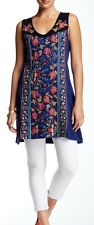 NWT Johnny Was 1X JWLA Embroidered Tank Tunic Dress Navy