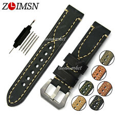 Watch Band Strap THICK Black Genuine Leather Stainless Steel Buckle Mens 20mm