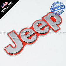 3D New Jeep Metal Trunk Emblem Sticker Logo Car Decoration - Chrome With Red