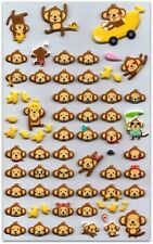 CUTE MONKEY STICKERS Sheet Chimp Ape Animal Puffy Vinyl Craft Scrapbook Kawaii